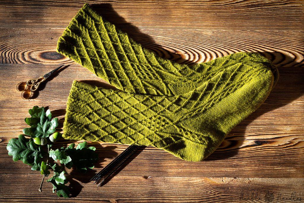"a pair of my bavarian twisted stitch socks ""auf zur dult"""