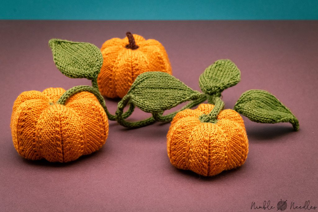 close-up of the knitted pumpkins