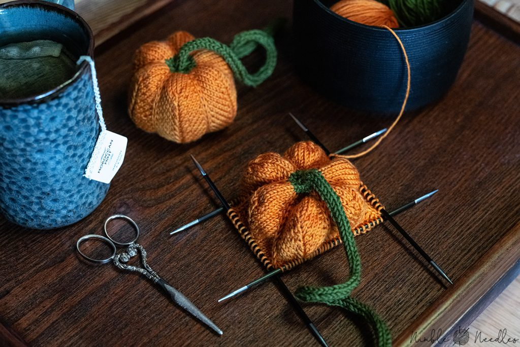 working on the pumpkin knitting pattern
