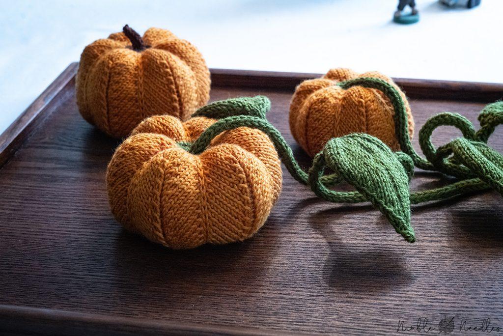 pumpkin home decor knitted