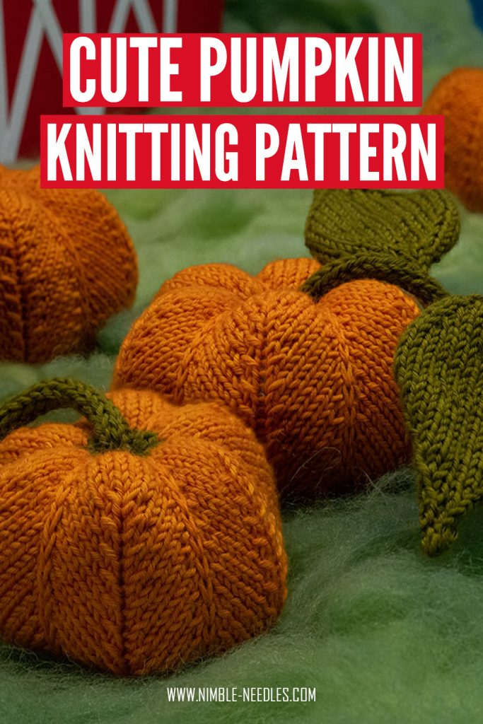 A cute little pumpkin knitting pattern including leaves and vines for a full patch