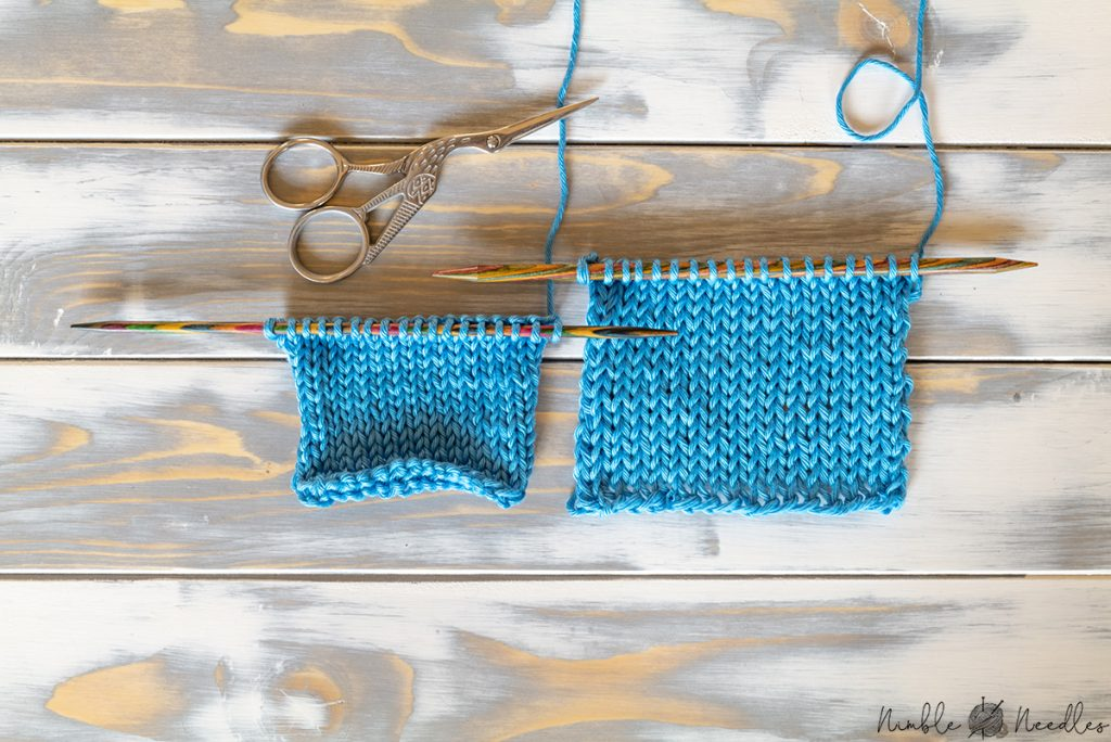 comparing two swatches knit in stocking stitch but one with a bigger needle size to stop curling at the edges