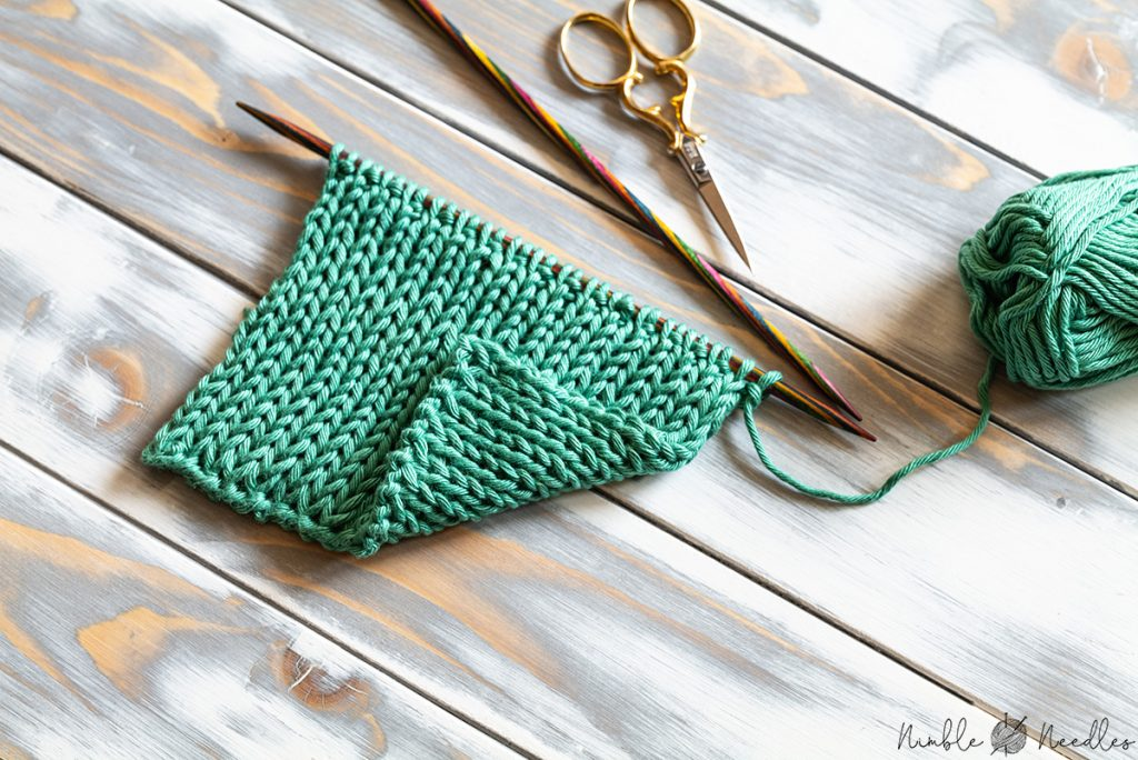 a swatch knit in the reversible double stockinette stitch