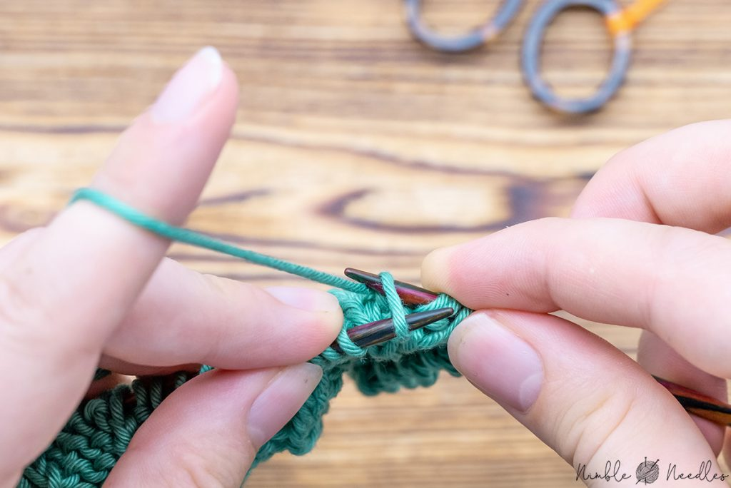 knit one through the back loop to finish the traveling to the leftbavarian twisted stitch