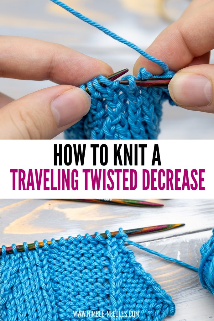 how to knit a traveling twisted decrease to the right