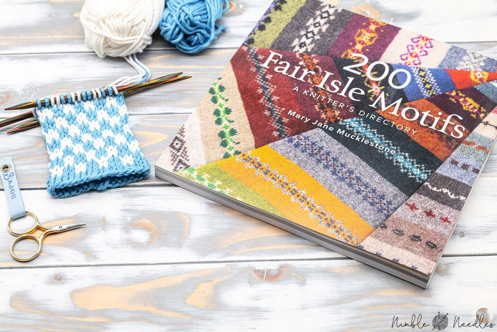 200 fair isle motifs knitting book by mary jane mucklestone with a project next to it