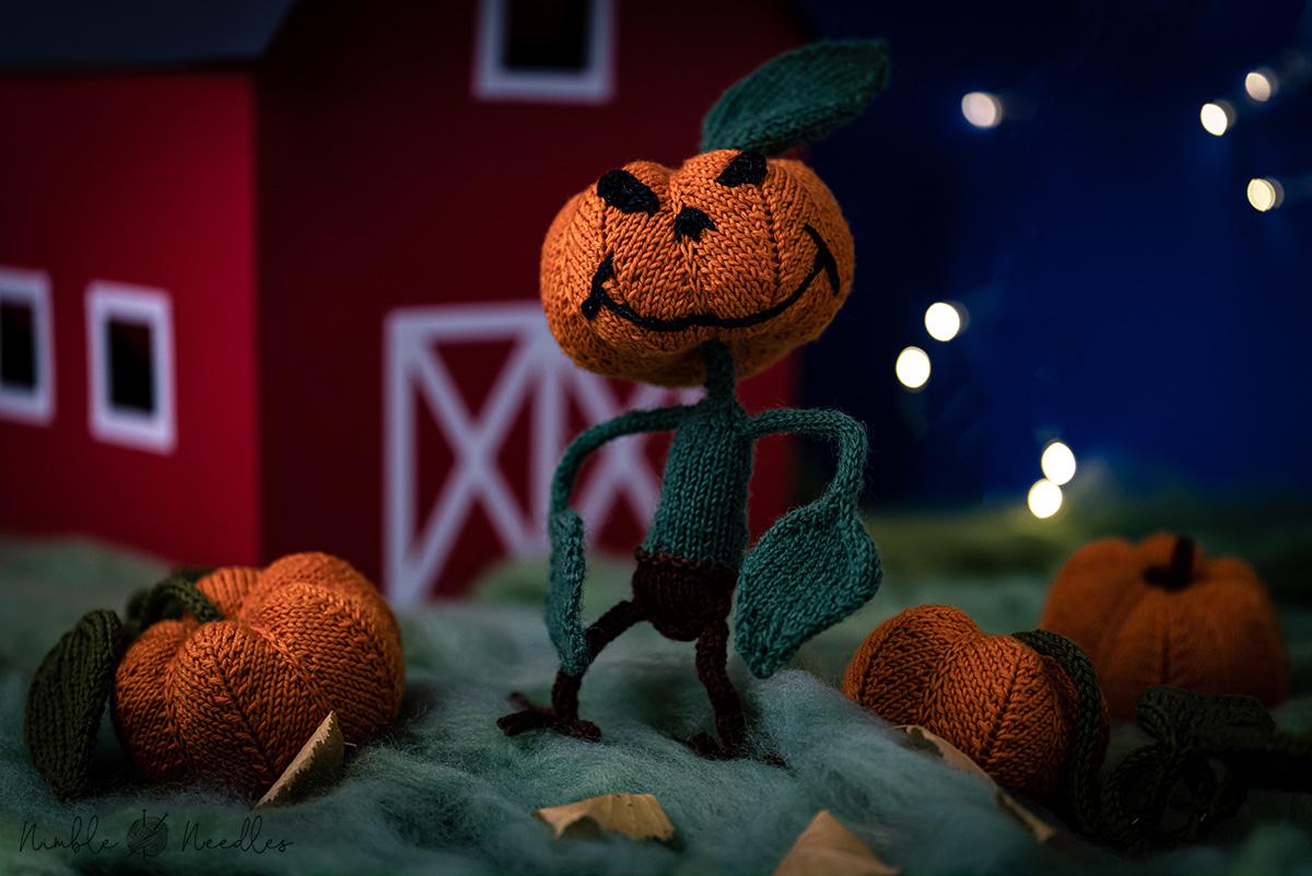 A knitting pattern for a great pumpkin monster for halloween