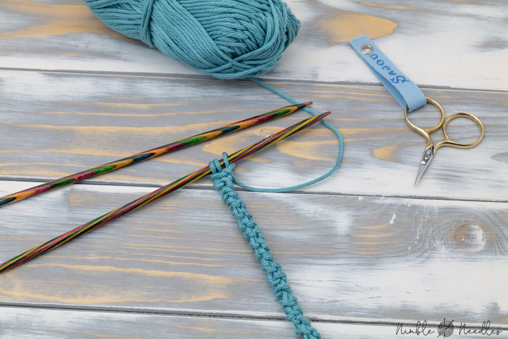 a purl i-cord swatch in teal cotton yarn