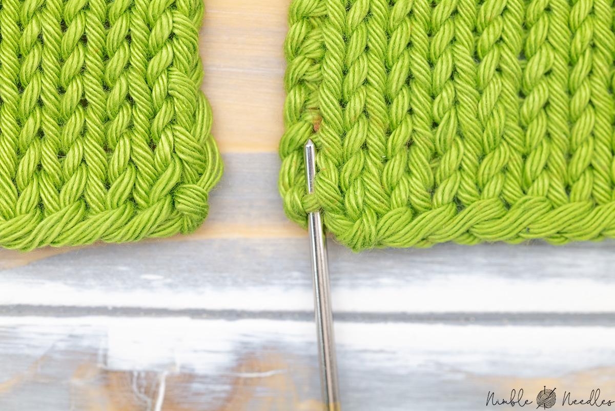 go through the first bar to start your mattress stitch