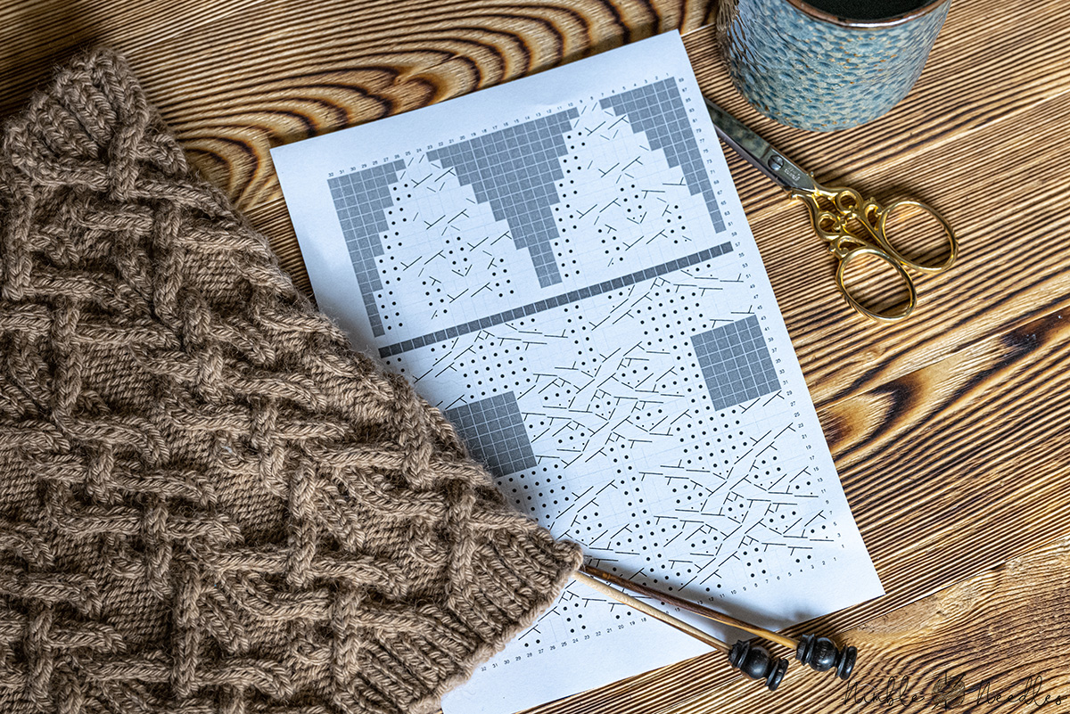 a knitting chart with a finished project next to it