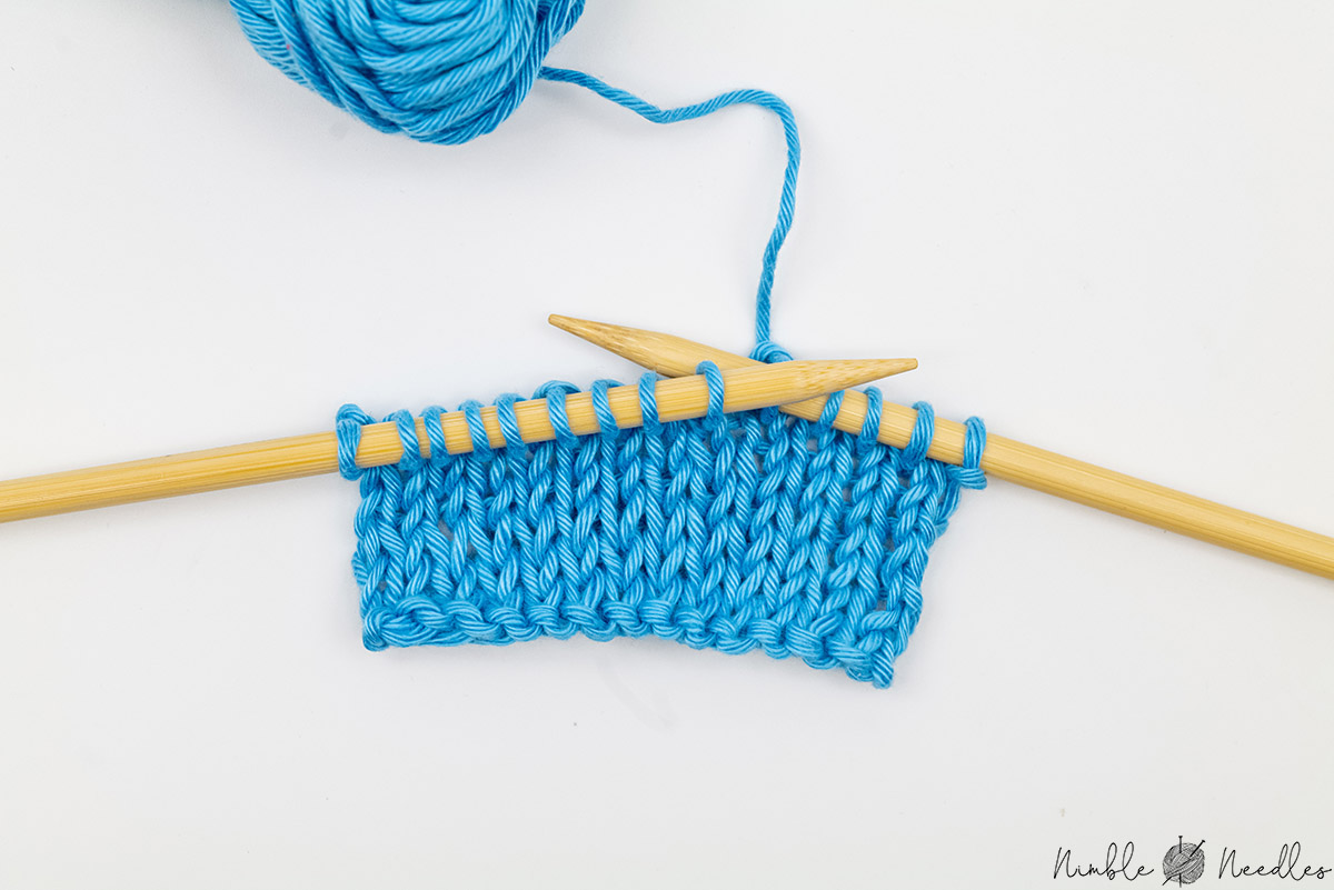 A picture showing a swatch after you knit 8 rows in stockinette stitch