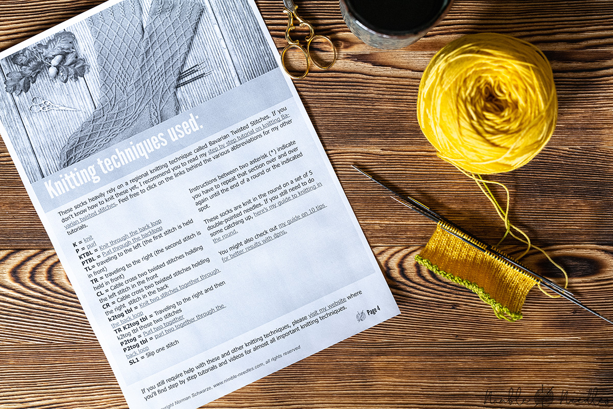 Reading a knitting glossary with all the important terms and techniques
