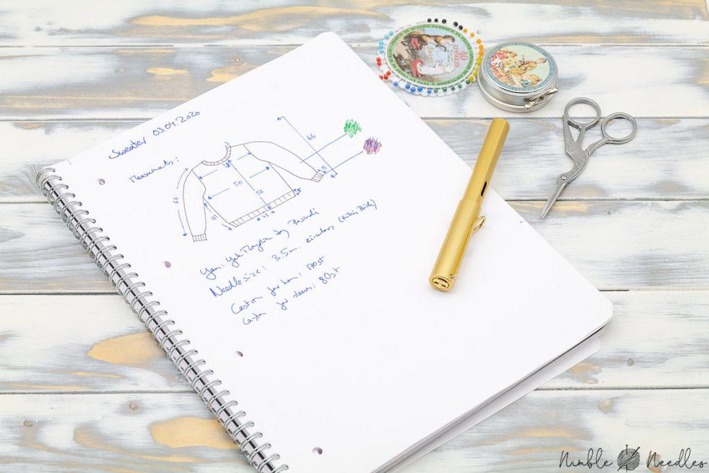 My own knitting journal written in a blank spiral notebook
