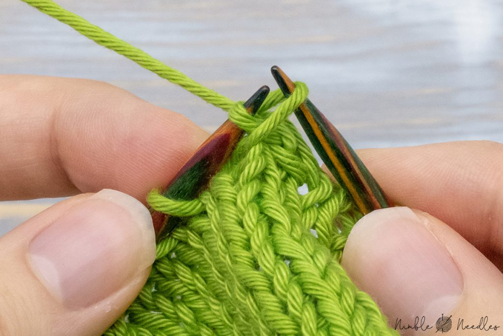 passing the last stitch over the first two two finish the right-leaning alternative