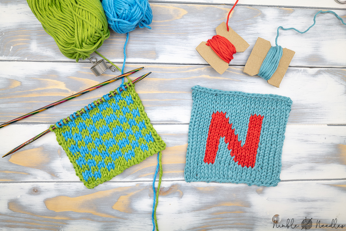 the difference between intarsia vs fair isle as shown with two swatches