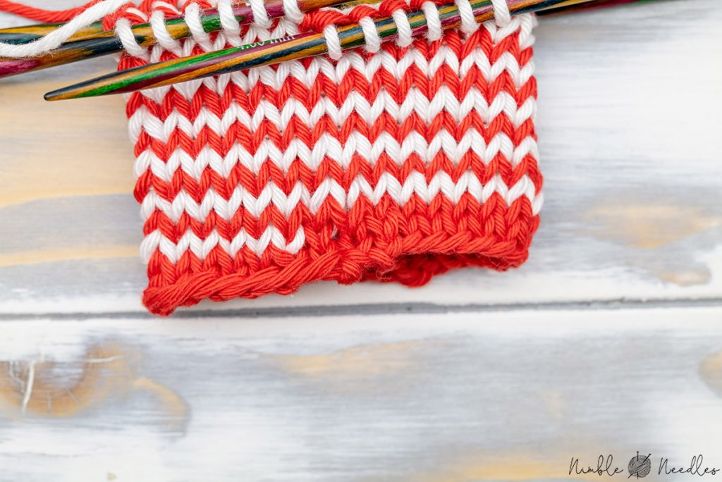 the very visual start of the helix knitting stripes