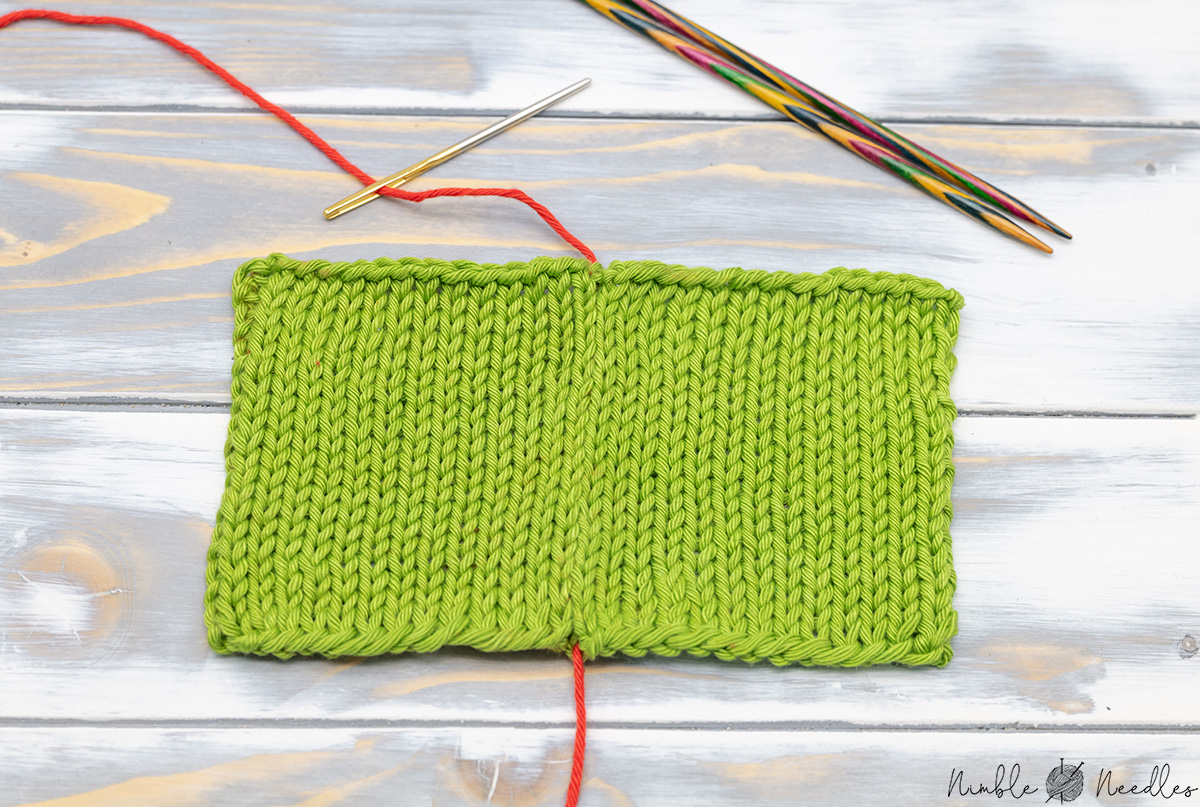 two knitted pieces joined with mattress stitch2