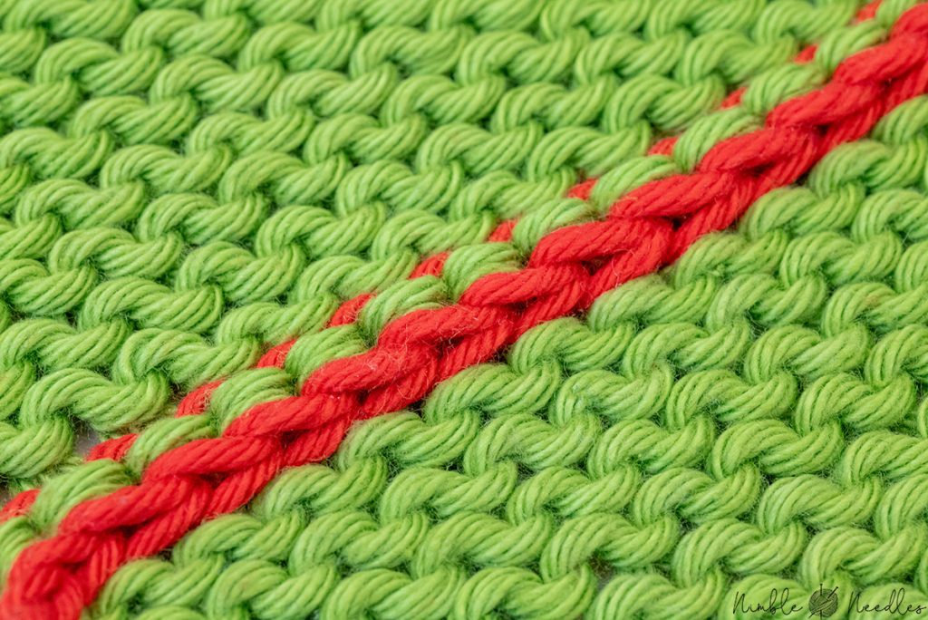 close-up of the back of the three needle bind off