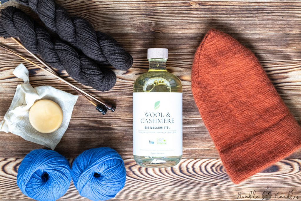 different kinds of organic wool detergents and soap bars for knitters