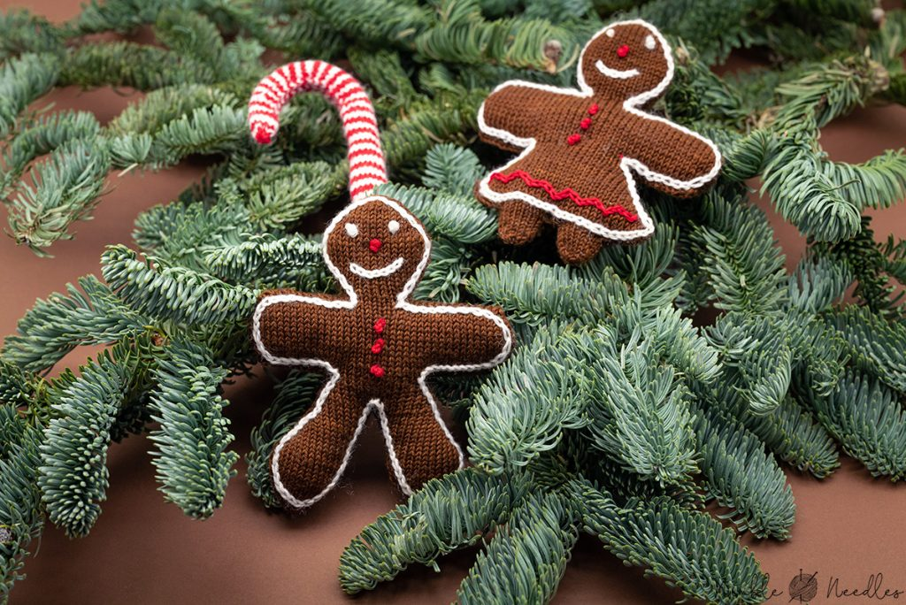 gingerbread knitted christmas tree decoration - man and women