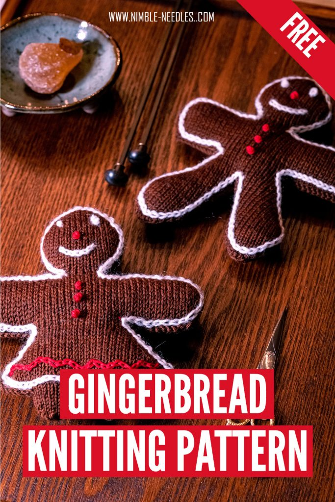 A step by step knitted gingerbread christmas decoration knitting pattern