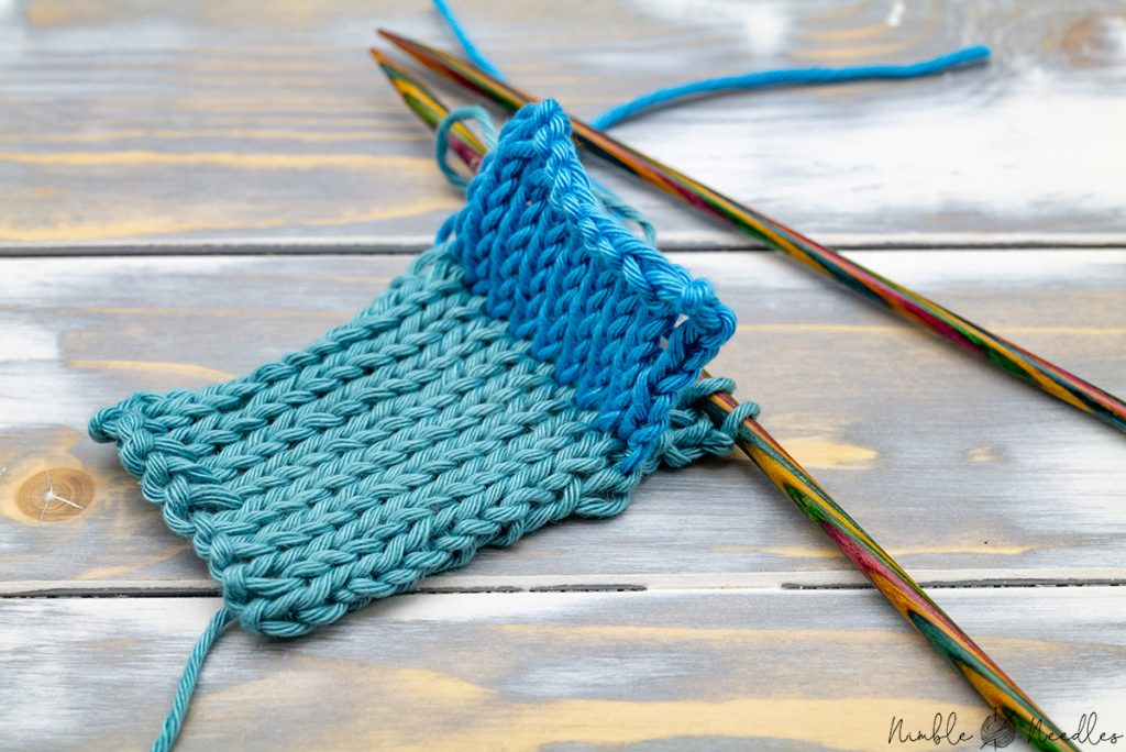 joining two knitted pieces with a three needle join to knit a pocket or a double-hem