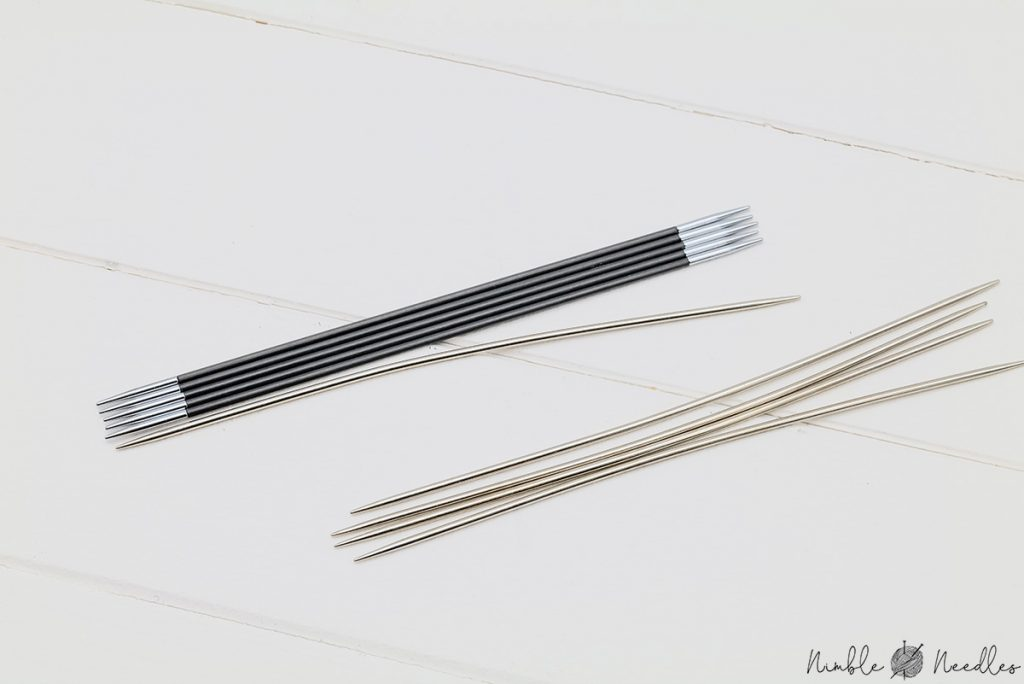 comparing the knitter's pride karbonz with the bent metal double-pointed needles by the same brand