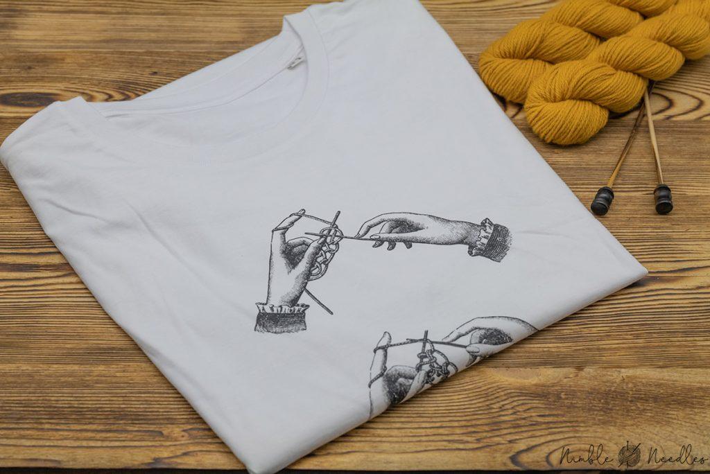 a t-shirt with a knitting motif