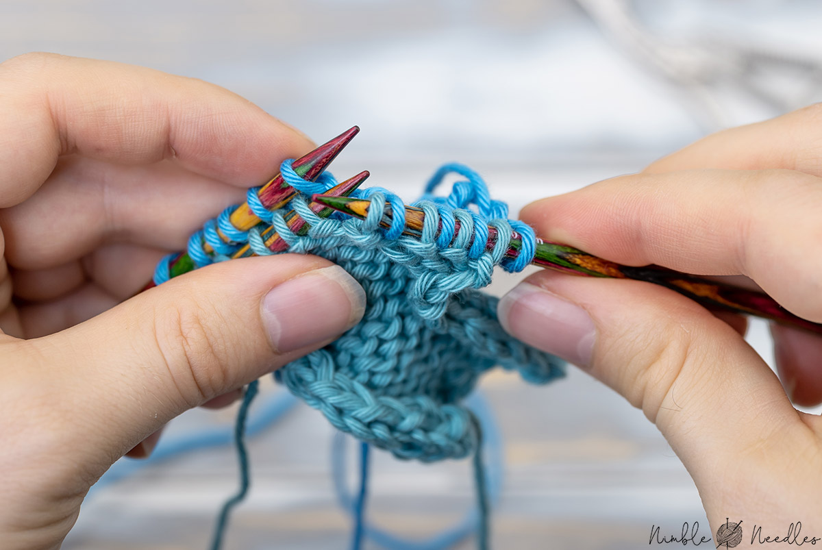 slipping stitches for the three needle cast off on a seperate needle