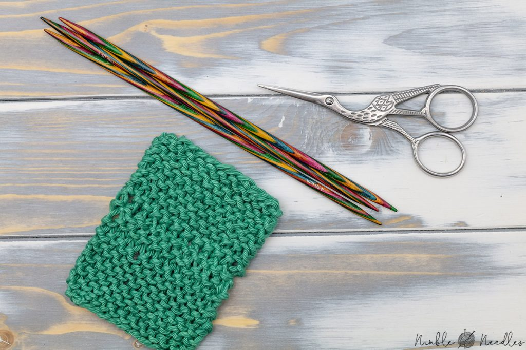 swatch with three needle bind off in garter stitch
