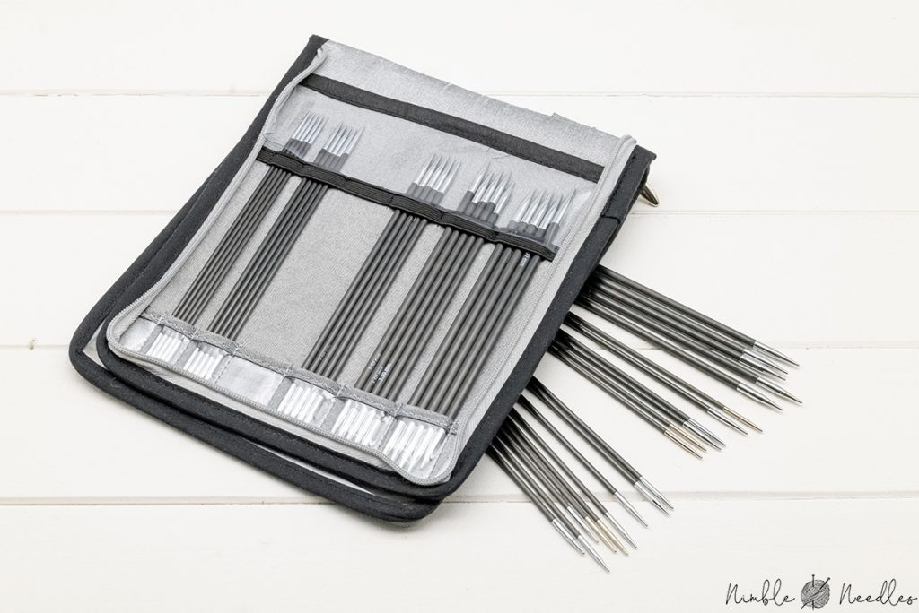 the knitter's pride karbonz double-pointed knitting needle set - here the 6 inch version