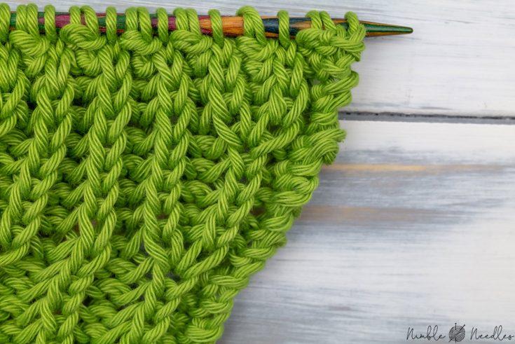 close-up of a basic brioche stitch increase