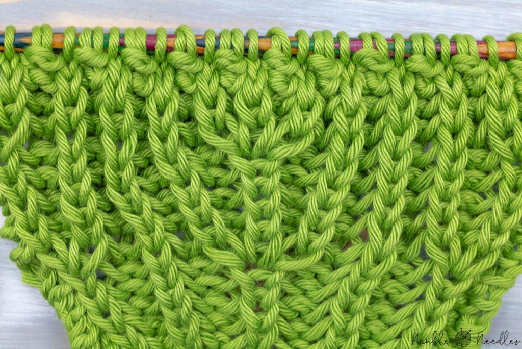 close-up of a double brioche stitch increase