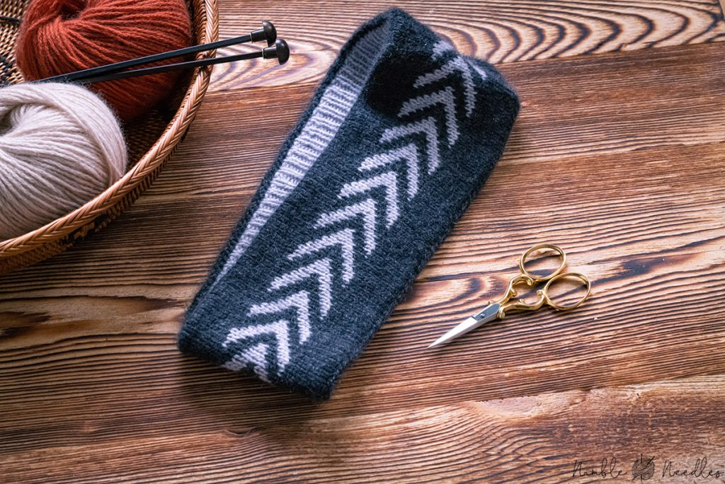 a reversible knitted headband with fair isle section
