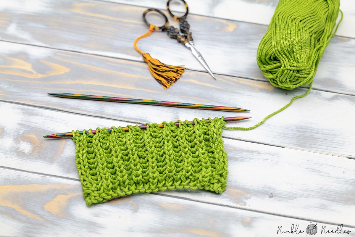 a swatch knit in the brioche stitch pattern