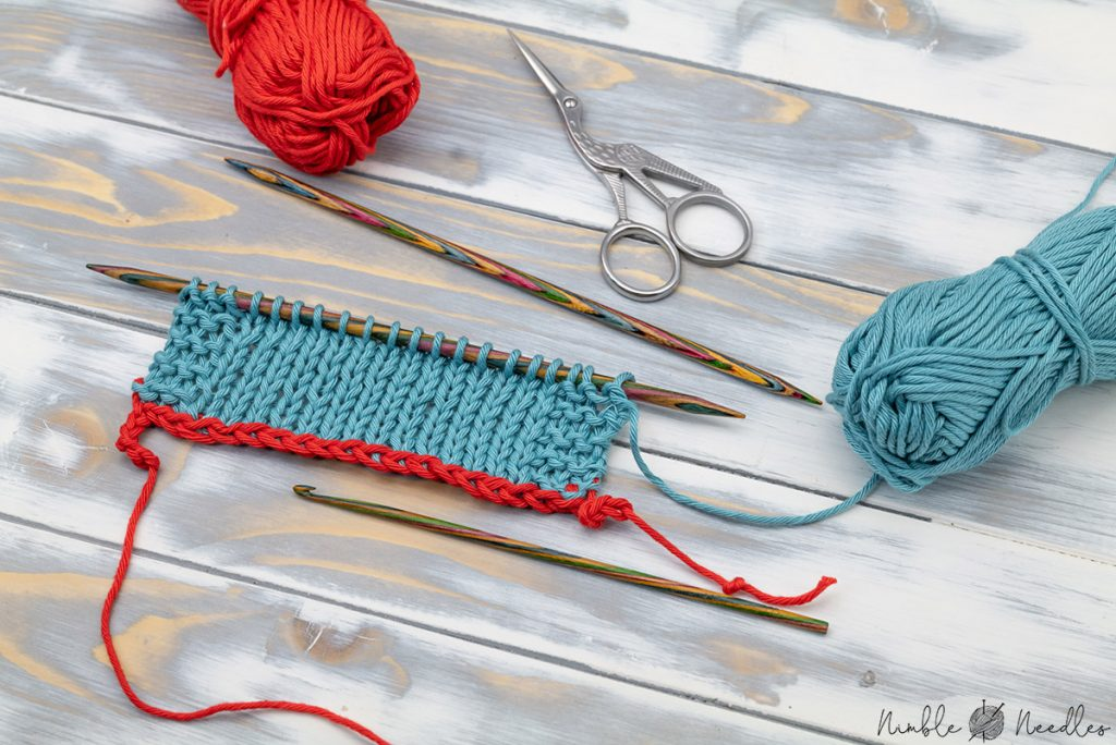 a swatch with a provisional cast-on using a crochet hook and some scrap yarn