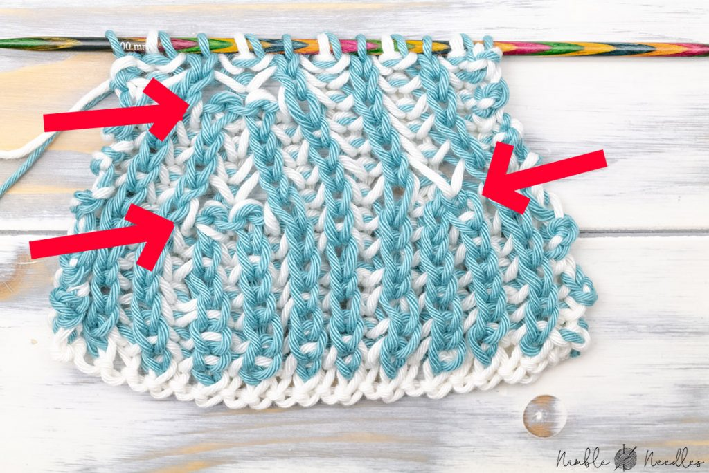 explaining the different versions of the centered double decrease for brioche stitch (br4st dec) on the backside