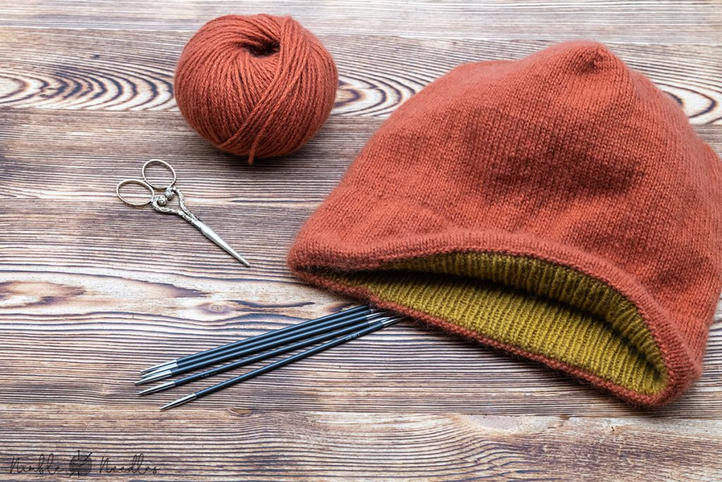 cashmere hat with a double hem in stockinette stitch knitted in the round