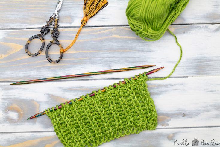close-up of a swatch in brioche stitch knitting pattern
