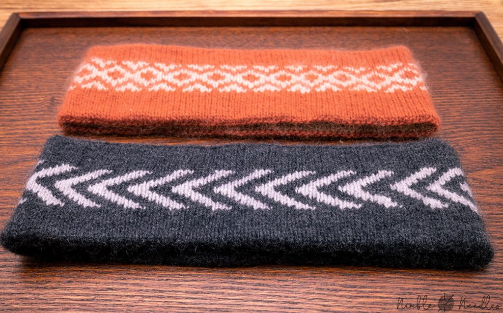 close-up of the knitted headbands in two different sizes