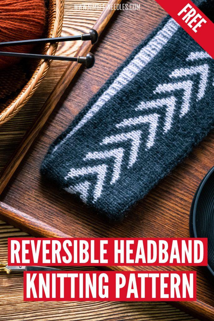 a super warm and reversible headband knitting pattern