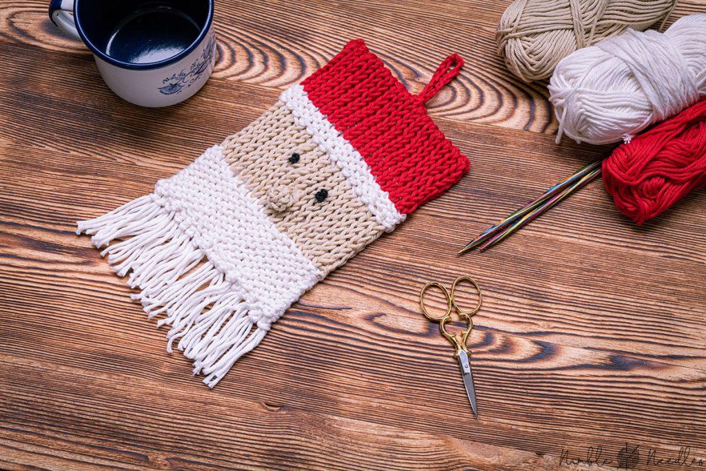 knitting a potholder pattern for christmas