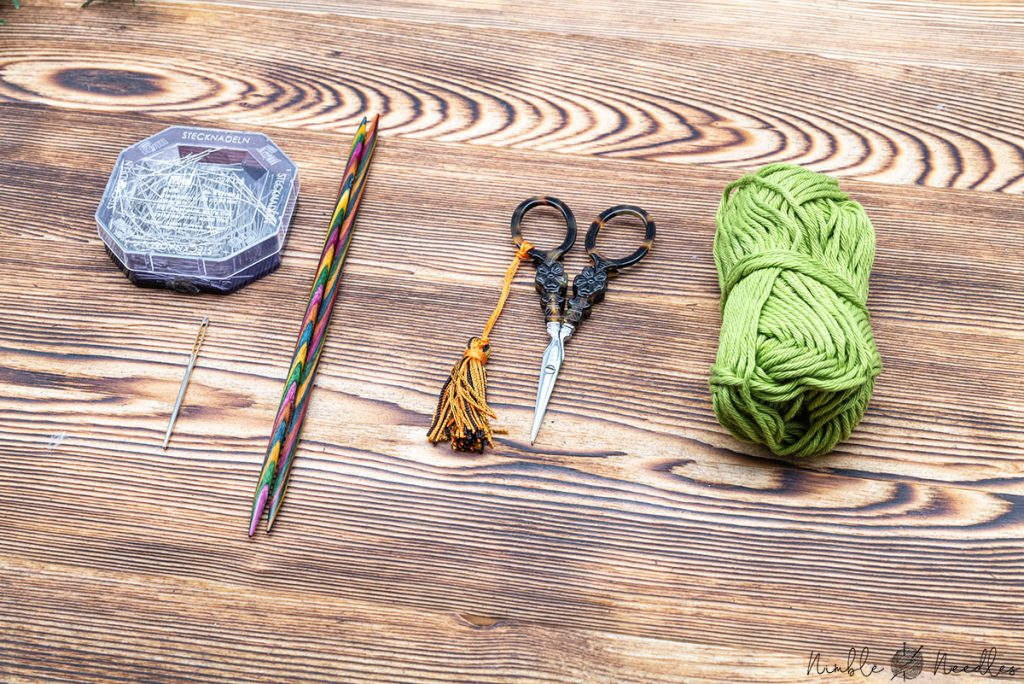 The materials you will need for this christmas coaster knitting patter