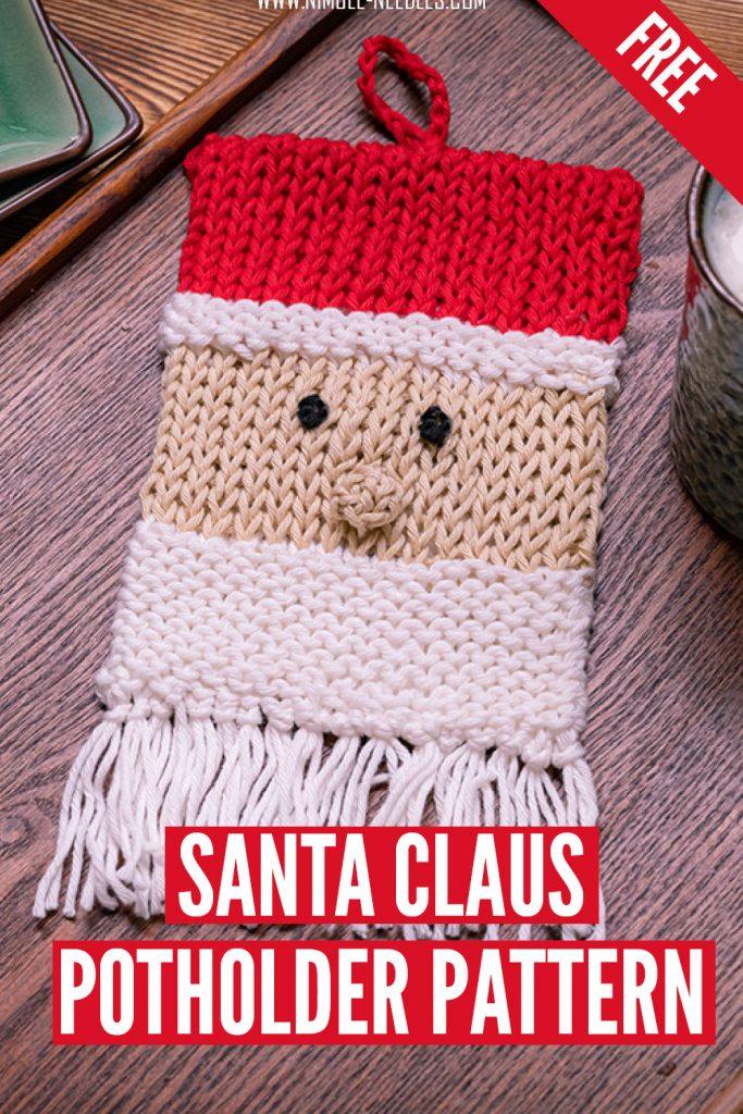 santa claus potholder knitting pattern for free