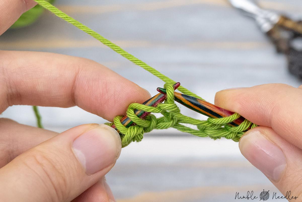 slip one stitch purlwise to finish the brioche repeat