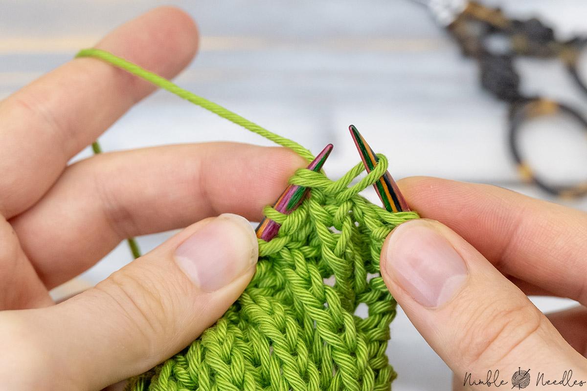 starting the brioche stitch increase with a regular k2tog
