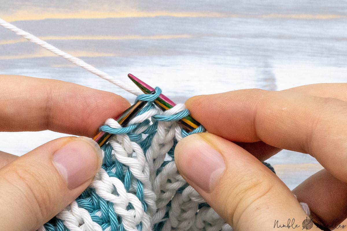 slipping three stitches knitwise