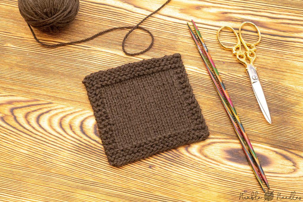 a swatch knit in stockinette stitch with yak yarn