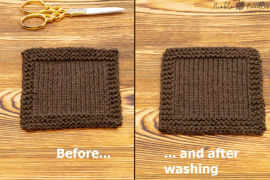 a swatch knit in yak yarn before and after washing - there is barely a any fluff