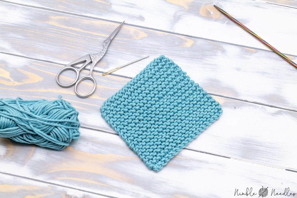 an easy knitted coaster in garter stitch